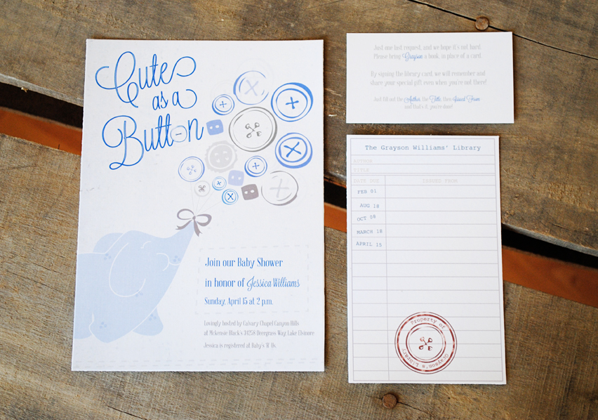 Jessica\'s Baby Shower Invitation: Cute as a Button – Sam Allen Creates