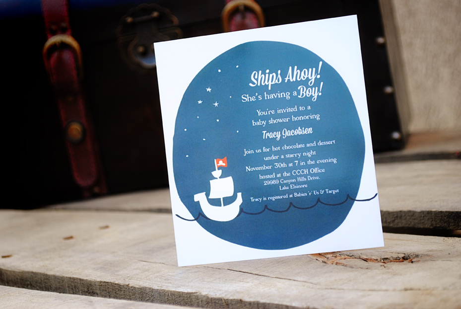 Ships Ahoy, Illustrated Pirate Themed Baby Shower Invitation – Sam ...