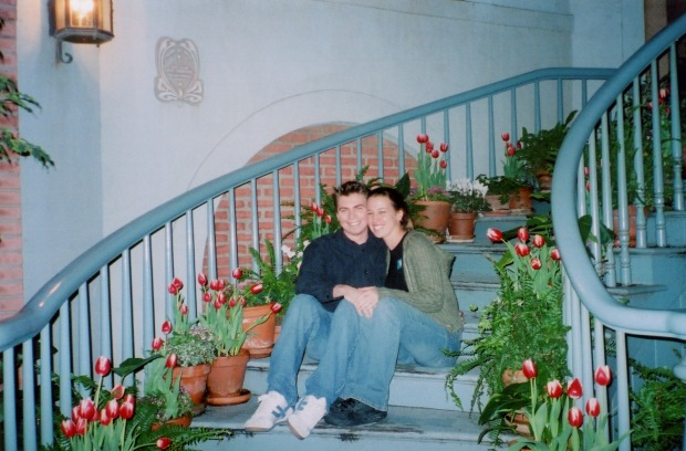 "Celebrating our first month dating with a Valentine's Dinner at Blue Bayou—our first photo in the courtyard, I had titled this photo ""stairs"" so I guess I didn't even know what they were at the time."