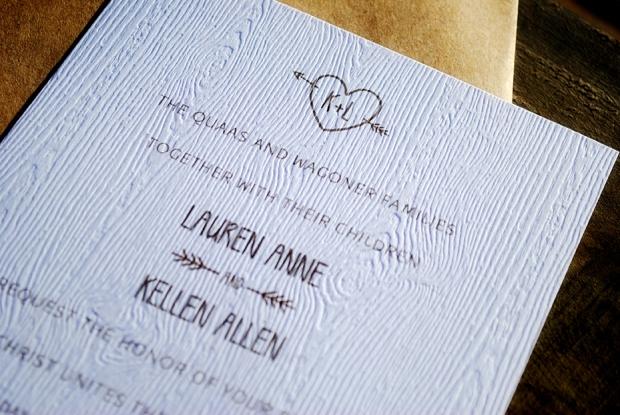 Lauren & Kellen's Outdoor Woodsy Wedding Invitations And