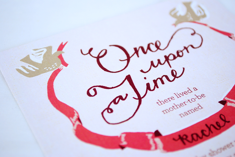 Once Upon A Time, Rachelu0027s Fairytale Baby Shower Invitations And Bookplate  Stamp