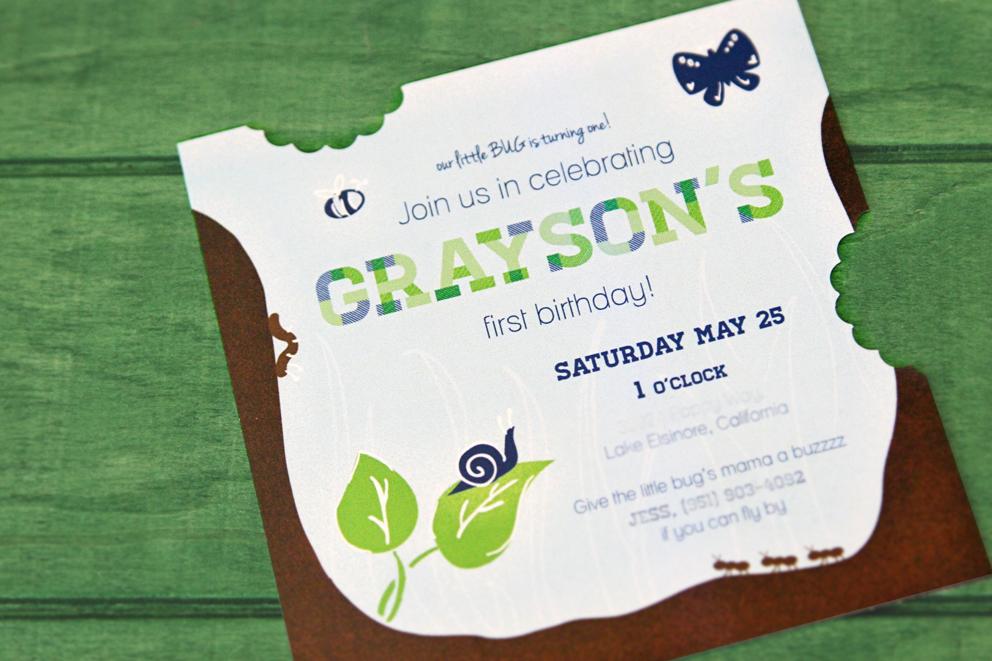 Graysons first bug birthday invitations sam allen creates filmwisefo