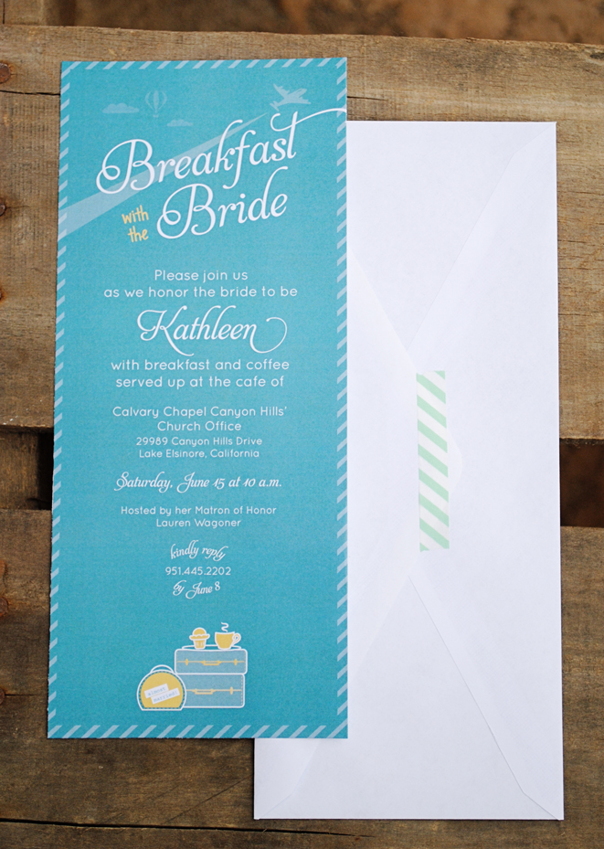 kathleen's travel cafe, breakfast and coffee bridal shower, Bridal shower invitations