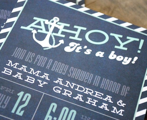 Ahoy Its A Boy Nautical Baby Shower Invitation blue and aqua 65