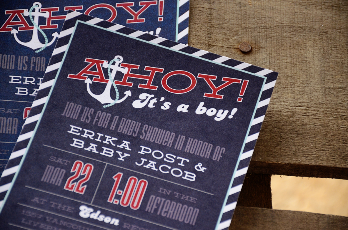 Ahoy Its A Boy Nautical Baby Shower Invitation Blue And Red 91 ...
