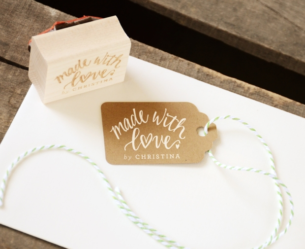 Made with Love Rubber Stamp, With or WIthout Personalized Name