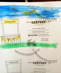 sunshine and lemonade birthday party watercolor invitation process