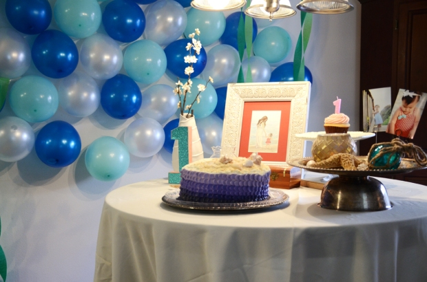 under the sea birthday party cake table 528