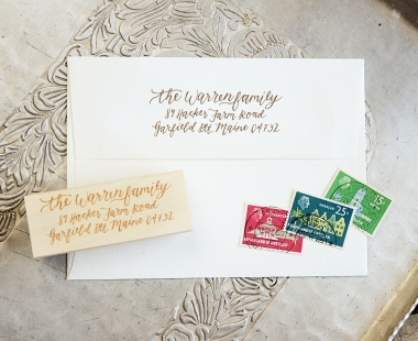 Your New Friend Sam Calligraphy Address Stamp Warren Family