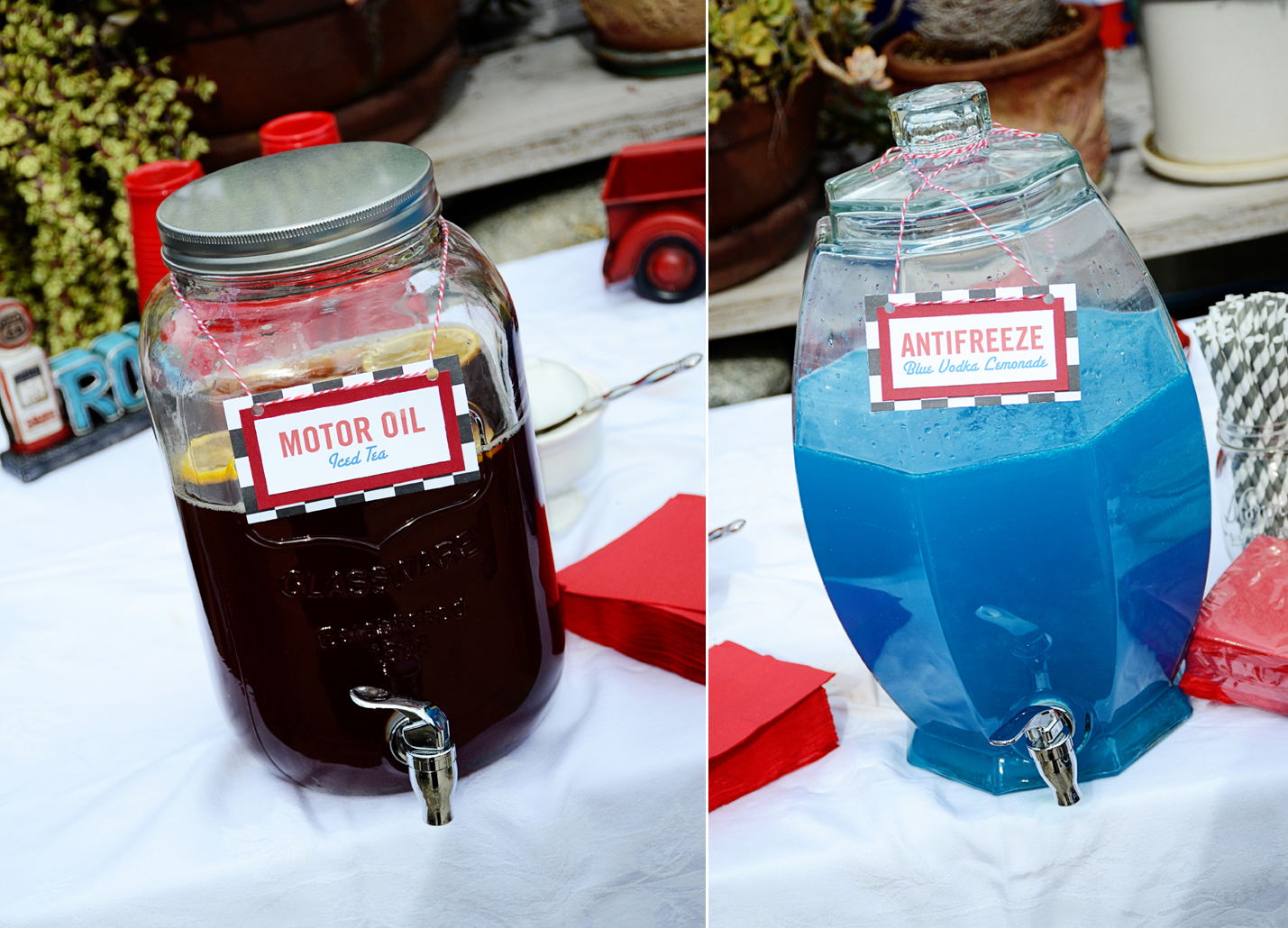 vintage cars and drag racing themed baby shower and party creating
