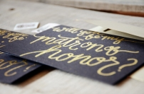 Bridesmaid Bridal Party Invitations by Your New Friend Sam - Black Cardstock with Gold Glitter Embossing, matron of Honor