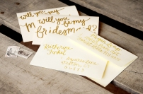 Cream Cardstock with Gold Glitter Embossing. Gold Addressed Envelopes