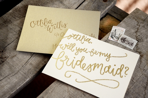 Bridesmaid Bridal Party Invitations by Your New Friend Sam - Cream with Gold Embossing, Personalized Bridesmaid with Gold Addressed Envelope