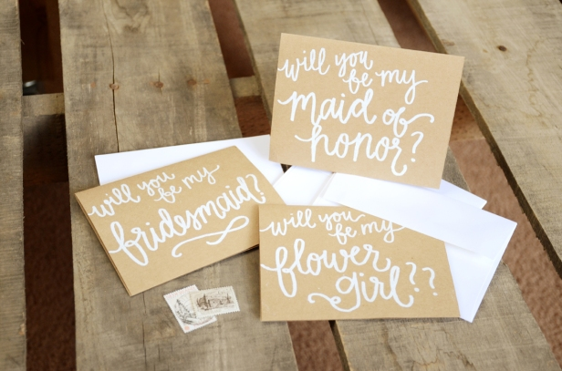 Bridesmaid Bridal Party Invitations by Your New Friend Sam - Kraft Brown Cardstock with White Opaque Embossing, Maid of Honor, Bridesmaid, Flower Girl