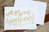 Bridesmaid Bridal Party Invitations by Your New Friend Sam - White Cardstock with Gold Glitter Embossing ring bearer