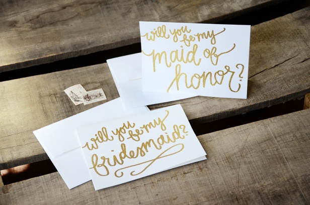White Cardstock with Gold Glitter Embossing: Will You Be My Bridesmaid / Maid of Honor?
