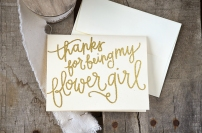Bridesmaid Bridal Party Thanks For Being My Flower Girl Card by Your New Friend Sam - Cream Cardstock with Gold Glitter Embossing