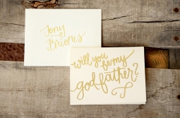 Godfather Invitations by Your New Friend Sam - Cream Cardstock with Gold Embossing and Personalized Envelope