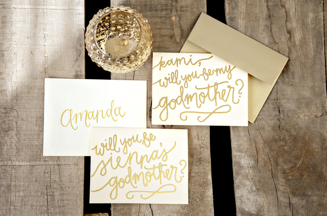Will you be my godmother sam allen creates godmother invitations by your new friend sam cream cardstock with gold glitter embossing upgrades m4hsunfo