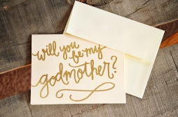 Godmother Invitations by Your New Friend Sam - Cream Cardstock with Gold Glitter Embossing