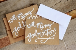 Godmother Invitations by Your New Friend Sam - Kraft Cardstock with White Embossing