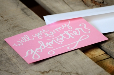 Godmother Invitations by Your New Friend Sam - Pink Cardstock with Personalized White Embossing