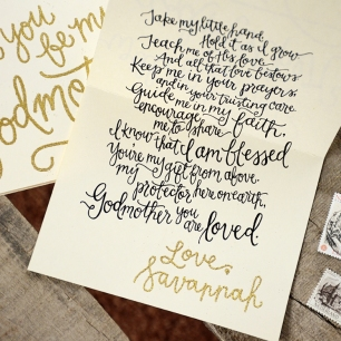 Will you be my godmother sam allen creates godparent invitations by your new friend sam cream cardstock with personalized gold glitter embossing signature m4hsunfo
