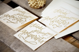 Thanks for Being My Godparents by Your New Friend Sam - Cream Cardstock with Gold Embossing Detail