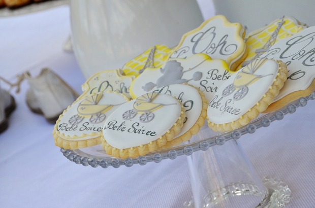 french country baby shower bebe soiree dessert table cookies 2