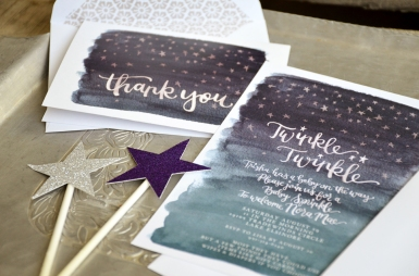 Twinkle Twinkle Baby Shower Watercolor Invitation and Thank You