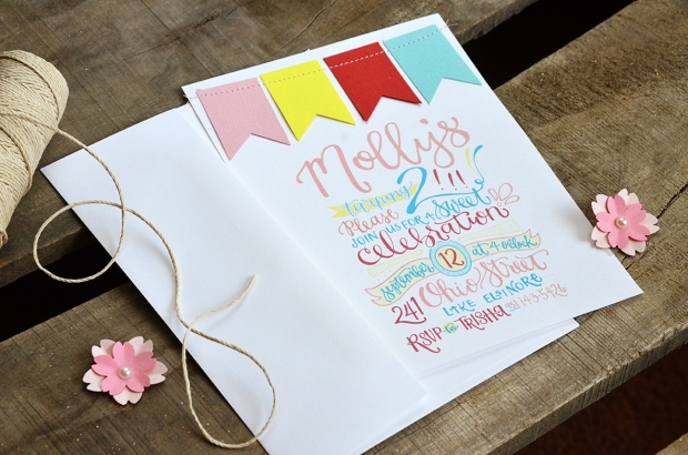 Mollys 2nd Birthday Handlettered Invitation 1