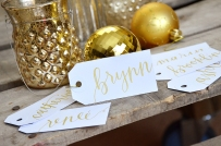 Small White Tags with Gold Ink, Iris Lettering Style