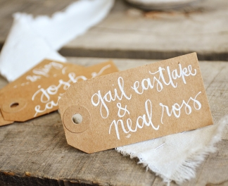 Small Kraft Tags with White Ink in Honeysuckle Lettering Style