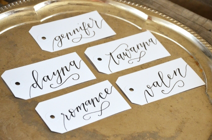 Large White Tags with Black Ink, Calla Lily Lettering Style