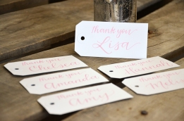 Large White Tags with Pink Ink, Primrose Lettering Style