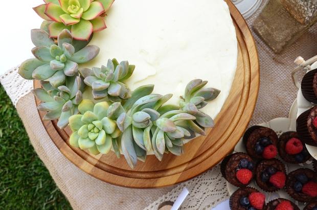 Shabby Chic Baby Shower Cake Table Succulent Cake Topper
