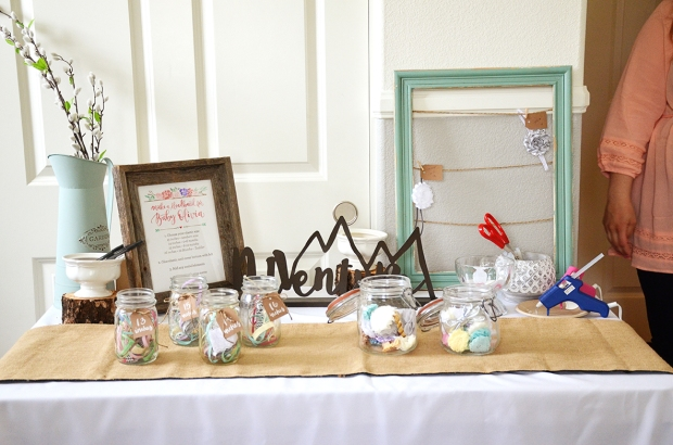 Shabby Chic Baby Shower Headband Station Table