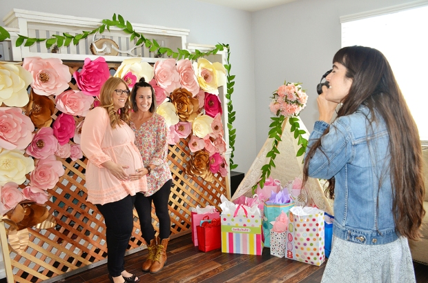 Shabby Chic Baby Shower Paper Flowers Backdrop Polaroid Guest Book