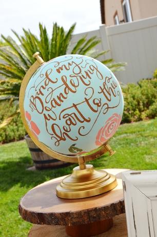 Shabby Chic Woodsy Baby Shower Cake Table Handlettered Globe