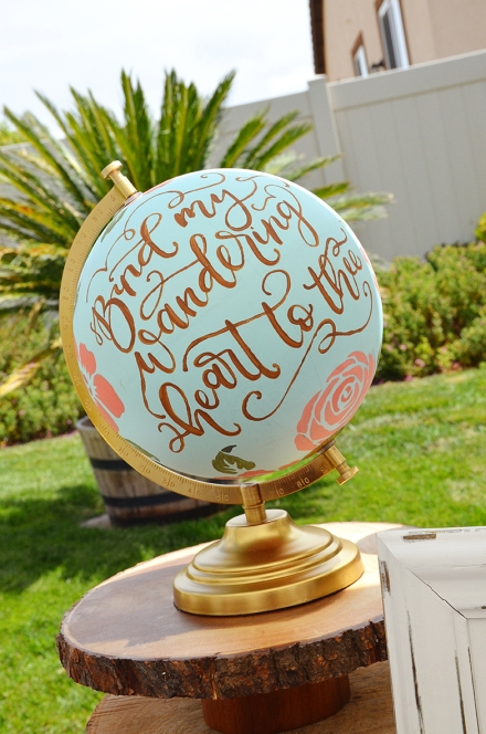 Shabby Chic Woodsy Baby Shower Cake Table Handlettered Globe