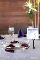 Sam Allen Creates Watercolor Wedding Reception Bali Hai Tablescape Floating Dahlia Centerpiece - Photo by Melissa McClure 2