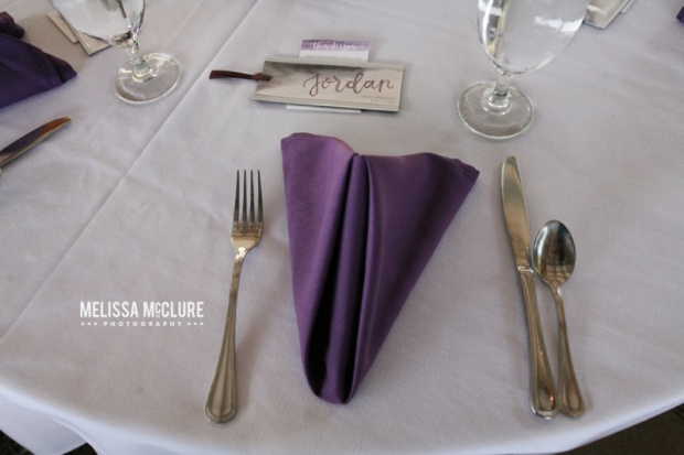 Sam Allen Creates Watercolor Wedding Reception Tablesetting Place setting Placecard Bookmark - Photo by Melissa McClure