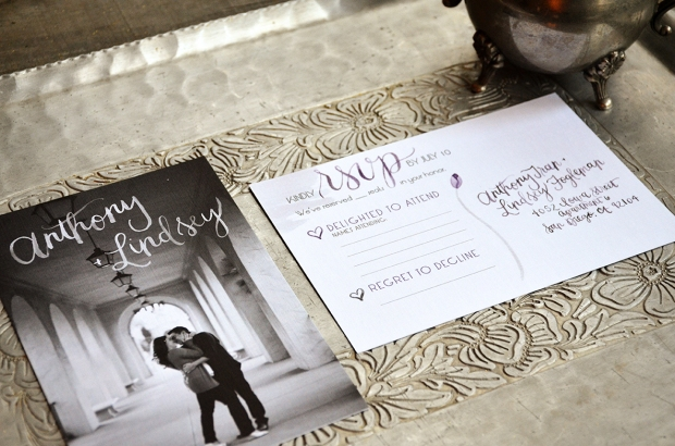 Sam Allen Creates Watercolor Weddng RSVP Card Postcard