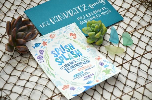 Sam Allen Creates - Isaiah's First Birthday - Under the Sea Birthday Invitation - Watercolor 2