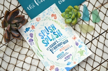 Sam Allen Creates - Isaiah's First Birthday - Under the Sea Birthday Invitation - Watercolor 4