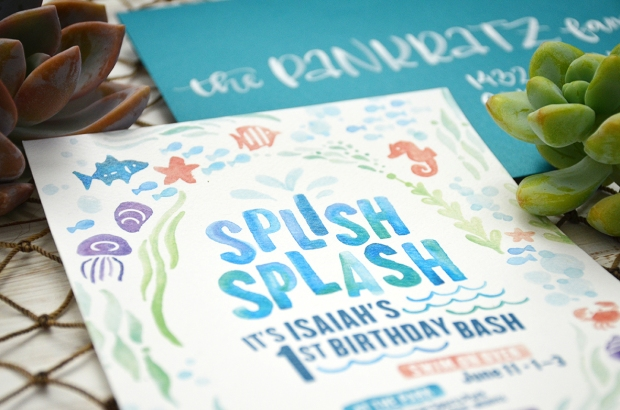 Sam Allen Creates - Isaiah's First Birthday - Under the Sea Birthday Invitation - Watercolor 6
