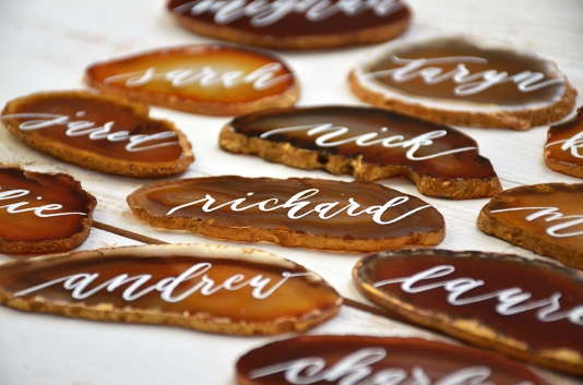 Sam Allen Creates Agate Placecards Wedding