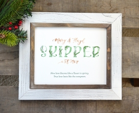 Sam Allen Creates Evergreen Family Name Sign, watercolor painting