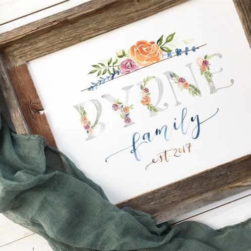 Sam Allen Creates Family Name Sign, Watercolor Floral Painting