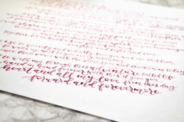 Sam Allen Creates Handwritten Watercolor Vows for Rachel - forward and forevermore